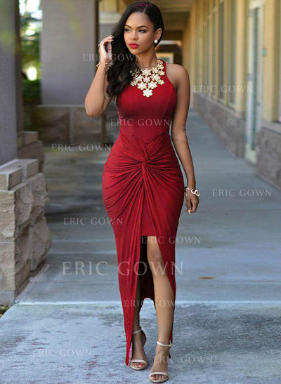 Sheath/Column Scoop Neck Asymmetrical Prom Dresses With Ruffle Beading (018218097)
