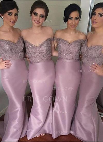 Sheath/Column Taffeta Lace Bridesmaid Dresses Beading Sequins Off-the-Shoulder Sleeveless Sweep Train (007144955)