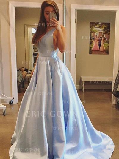 Newest Satin Evening Dresses A-Line/Princess Sweep Train V-neck Sleeveless (017212133)