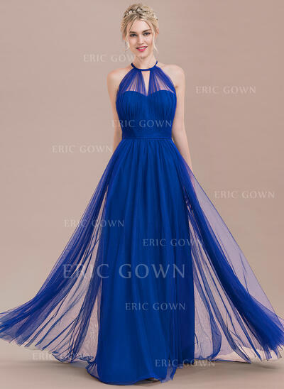 A-Line Scoop Neck Floor-Length Tulle Prom Dresses With Ruffle Bow(s) (018125044)