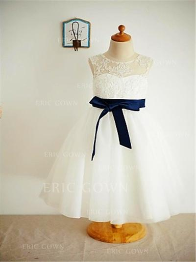 A-Line/Princess Scoop Neck Ankle-length With Sash Tulle/Lace Flower Girl Dresses (010211907)