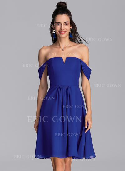 A-Line Off-the-Shoulder Knee-Length Chiffon Cocktail Dress (016216053)
