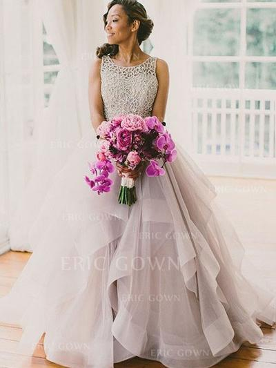 Ball-Gown Square Neckline Floor-Length Tulle Evening Dresses With Cascading Ruffles (017217449)