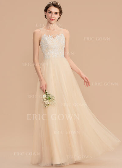 A-Line Scoop Neck Floor-Length Tulle Lace Bridesmaid Dress (007165827)