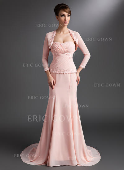 Trumpet/Mermaid Sweetheart Court Train Mother of the Bride Dresses With Ruffle Lace Beading Sequins (008006072)