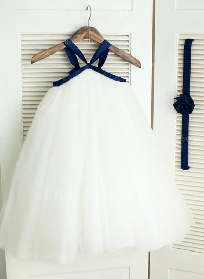 Chic Straps Ball Gown Flower Girl Dresses Knee-length Satin/Tulle Sleeveless (010196734)
