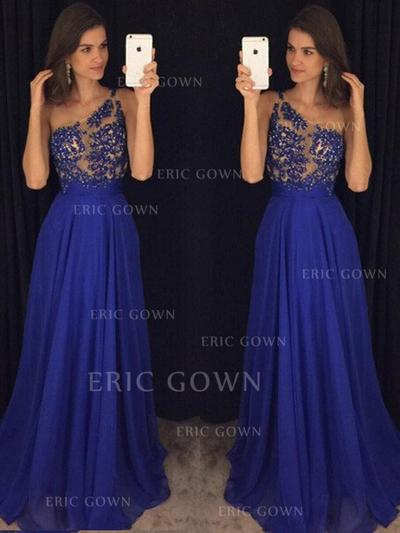 A-Line/Princess One-Shoulder Floor-Length Chiffon Evening Dresses With Beading (017217828)