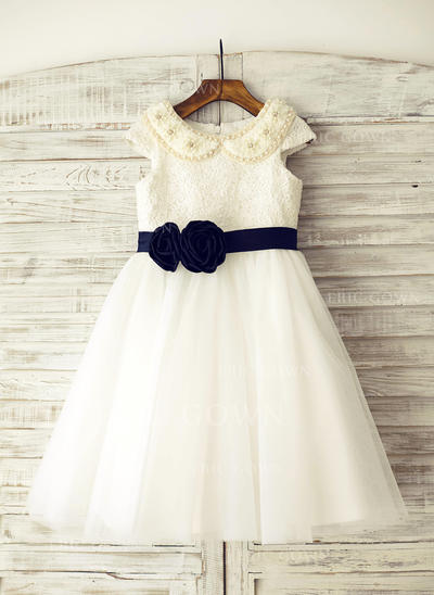 A-Line/Princess Knee-length Flower Girl Dress - Tulle/Lace Sleeveless Peter Pan Collar With Beading (010105752)