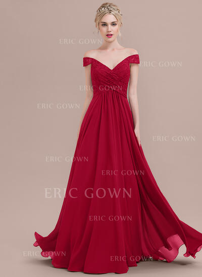 A-Line/Princess Off-the-Shoulder Floor-Length Chiffon Lace Prom Dresses With Ruffle (018125031)