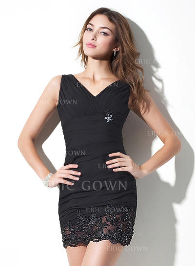 Sheath/Column V-neck Short/Mini Chiffon Cocktail Dresses With Ruffle Beading Appliques Lace (016021152)