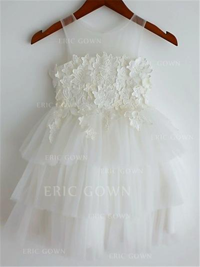 A-Line/Princess Scoop Neck Knee-length With Appliques Tulle Flower Girl Dresses (010211898)