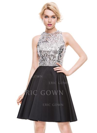 A-Line/Princess Scoop Neck Knee-Length Satin Homecoming Dresses (022214089)
