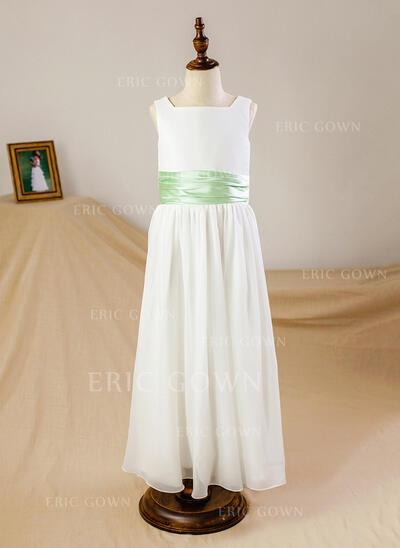 A-Line/Princess Ankle-length Flower Girl Dress - Chiffon/Satin Sleeveless Square Neckline With Sash (010093740)