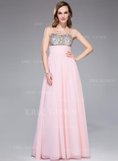 Empire Chiffon Prom Dresses Ruffle Beading Scoop Neck Sleeveless Floor-Length (018042713)