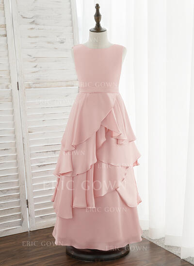 A-Line Floor-length Flower Girl Dress - Satin Chiffon Sleeveless Scoop Neck With Ruffles (010172371)