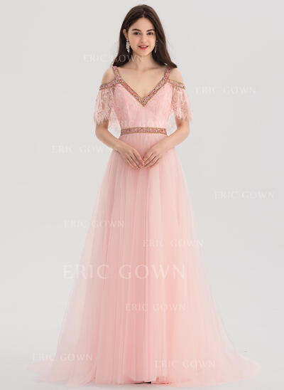 A-Line/Princess V-neck Sweep Train Lace Prom Dresses With Beading (018138363)