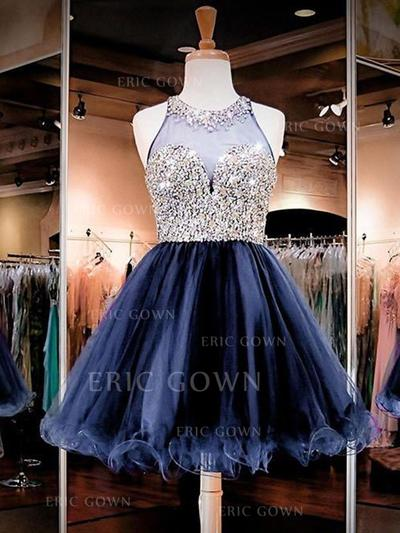A-Line/Princess Scoop Neck Short/Mini Homecoming Dresses With Beading (022216267)