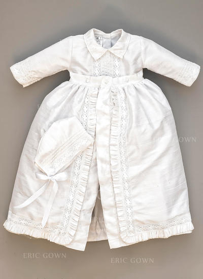 A-Line/Princess Peter Pan Collar Floor-length Satin Christening Gowns With Lace (2001217975)