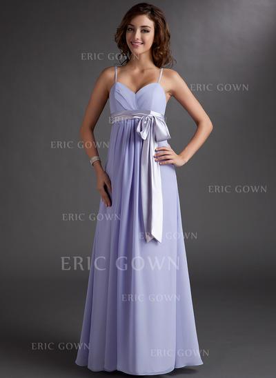 Empire Sweetheart Floor-Length Bridesmaid Dresses With Ruffle Sash Bow(s) (007000843)