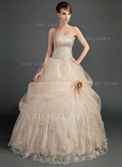 Princess Strapless Ball-Gown Wedding Dresses Floor-Length Satin Organza Sleeveless (002196866)