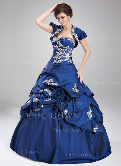 Ball-Gown Sweetheart Floor-Length Prom Dresses With Ruffle Beading Appliques Lace Sequins (018135160)