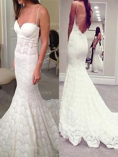 Trumpet/Mermaid Sweetheart Court Train Wedding Dresses (002147979)