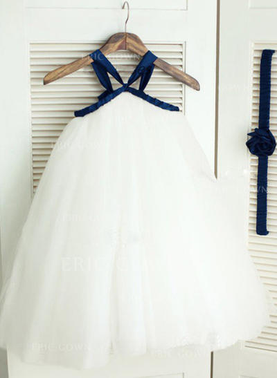 A-Line/Princess Straps Ankle-length With Sash Tulle Flower Girl Dresses (010211890)