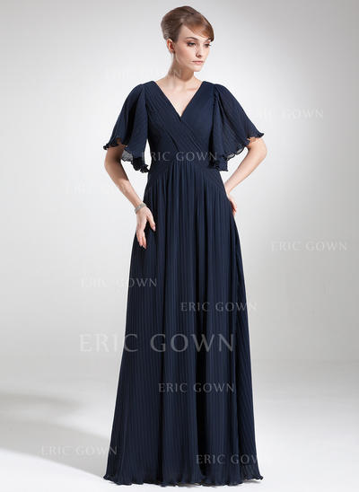 Empire Chiffon Short Sleeves V-neck Floor-Length Zipper Up Mother of the Bride Dresses (008211227)