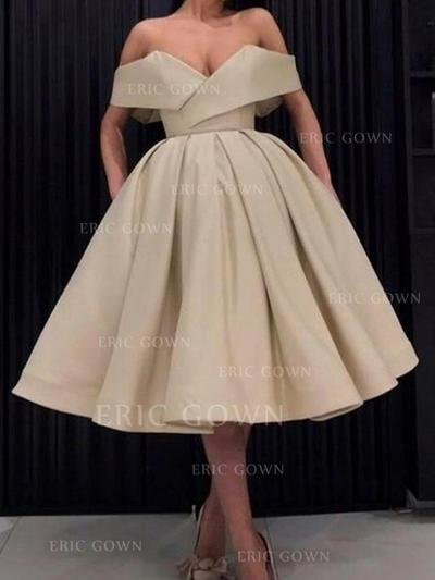 Ball-Gown Off-the-Shoulder Tea-Length Homecoming Dresses With Ruffle (022219312)