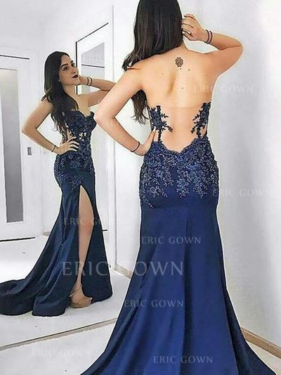 Sheath/Column Sweetheart Sweep Train Evening Dresses With Lace Split Front (017217865)