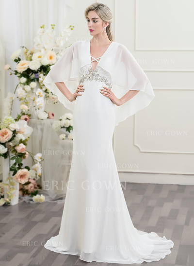 Trumpet/Mermaid Sweetheart Sweep Train Wedding Dresses With Ruffle Beading Sequins (002096100)