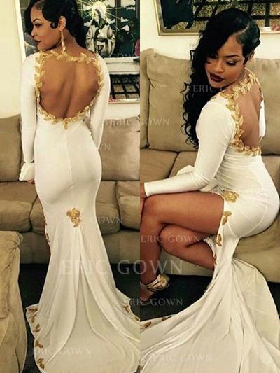 Trumpet/Mermaid Scoop Neck Sweep Train Prom Dresses With Appliques Lace Split Front (018218655)
