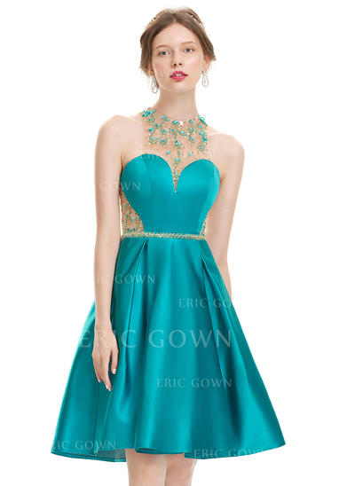 A-Line/Princess Scoop Neck Knee-Length Satin Homecoming Dresses With Beading Sequins (022214178)