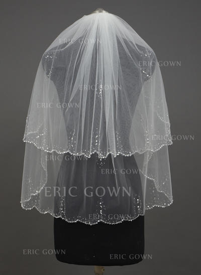 Fingertip Bridal Veils Tulle Two-tier Classic With Scalloped Edge Wedding Veils (006151227)