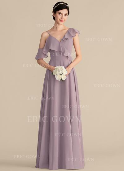 A-Line/Princess V-neck Floor-Length Chiffon Bridesmaid Dress With Cascading Ruffles (007165851)