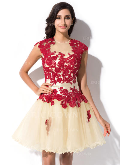 A-Line/Princess Scoop Neck Short/Mini Tulle Homecoming Dresses With Appliques Lace (022214017)