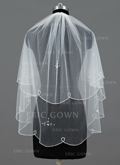 Elbow Bridal Veils Tulle Two-tier Classic With Beaded Edge/Sequin Trim Edge Wedding Veils (006151324)