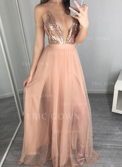 A-Line/Princess V-neck Floor-Length Tulle Prom Dresses (018217261)