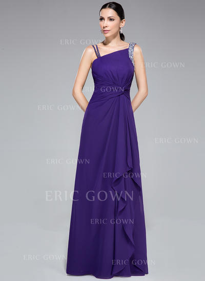 Sheath/Column Chiffon Prom Dresses Ruffle Beading Sleeveless Watteau Train (018050420)