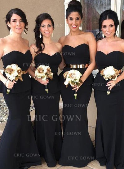 Trumpet/Mermaid Sweetheart Floor-Length Bridesmaid Dresses With Cascading Ruffles (007145184)