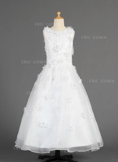 Stunning Scoop Neck A-Line/Princess Flower Girl Dresses Floor-length Organza Sleeveless (010014616)