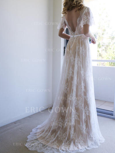 A-Line/Princess Tulle Lace Short Sleeves V-neck Sweep Train Wedding Dresses (002144924)