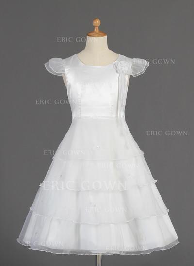Delicate Scoop Neck A-Line/Princess Flower Girl Dresses Tea-length Organza/Charmeuse Short Sleeves (010014660)