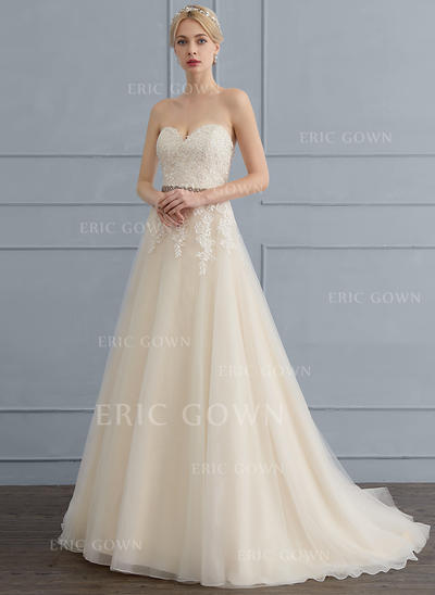 A-Line/Princess Sweetheart Sweep Train Tulle Lace Wedding Dress With Beading Sequins Bow(s) (002121430)