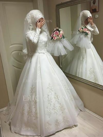 Ball-Gown Scoop Floor-Length Wedding Dresses With Bow(s) (002217913)