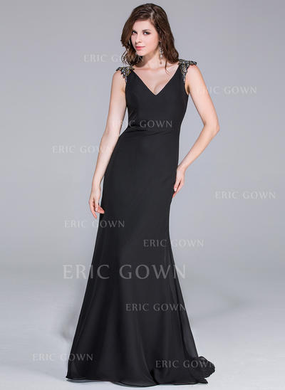 Trumpet/Mermaid Chiffon Prom Dresses Beading V-neck Sleeveless Sweep Train (018025511)