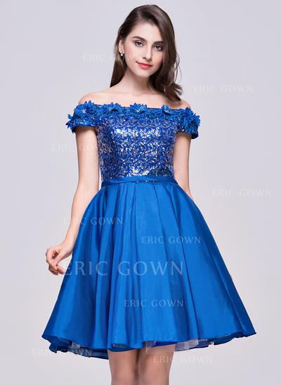 A-Line/Princess Off-the-Shoulder Knee-Length Taffeta Sequined Homecoming Dresses With Flower(s) (022214060)