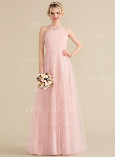 A-Line/Princess Scoop Neck Floor-Length Tulle Bridesmaid Dress With Ruffle Beading (007131067)