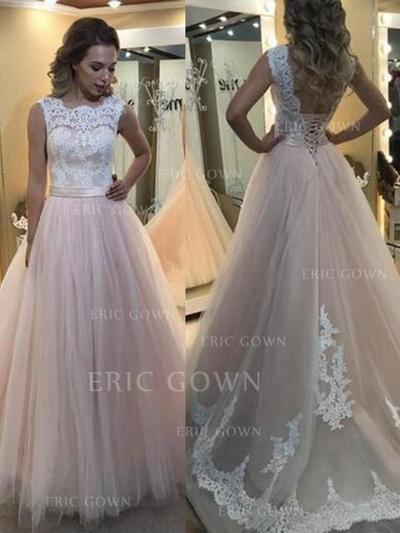 A-Line/Princess Scoop Neck Sweep Train Tulle Evening Dresses With Lace (017217827)