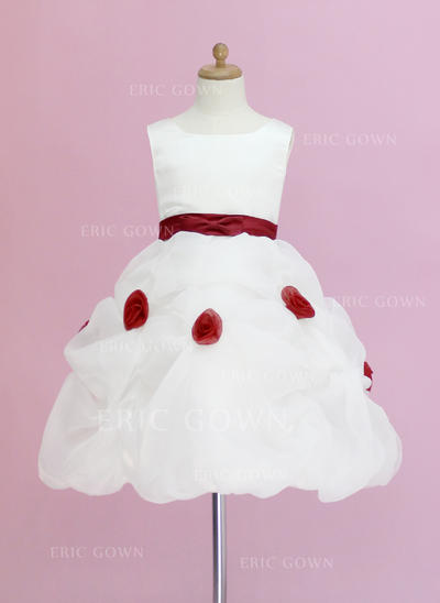 Simple Scoop Neck Ball Gown Flower Girl Dresses Knee-length Organza/Satin Sleeveless (010005328)